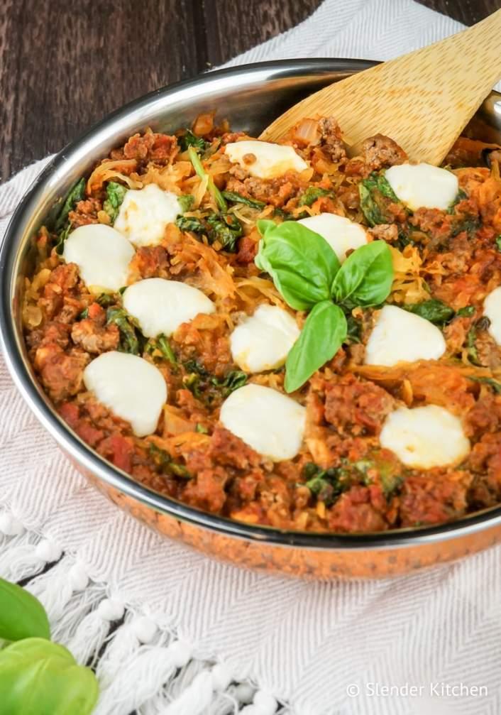 Low Carb Italian Spaghetti Squash Casserole in a skillet.