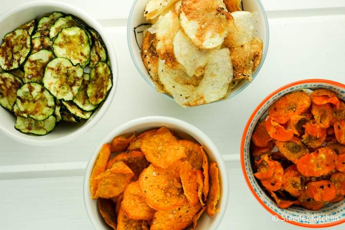 Microwave veggie chips crispy and crunchy after just a few minutes in the microwave.