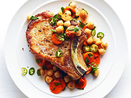 Moroccan Carrot and Chickpea Salad with Pork Chops