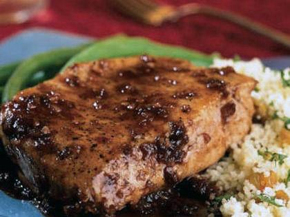 Balsamic-Plum Glazed Pork Chops