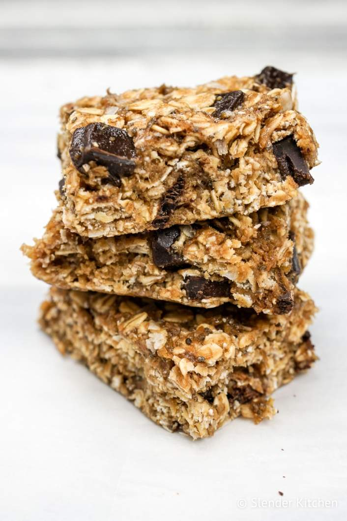 No Bake Peanut Butter Banana Oat Bars with chocolate chips.