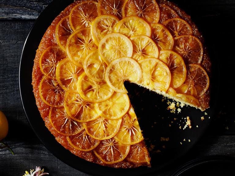 Meyer Lemon Cornmeal Upside-Down Cake