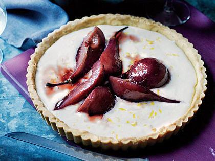 Port-Glazed Pear Tart with Rosemary-Cornmeal Crust