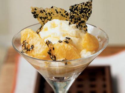 Warm Oranges in Sake Cream with Sesame Brittle