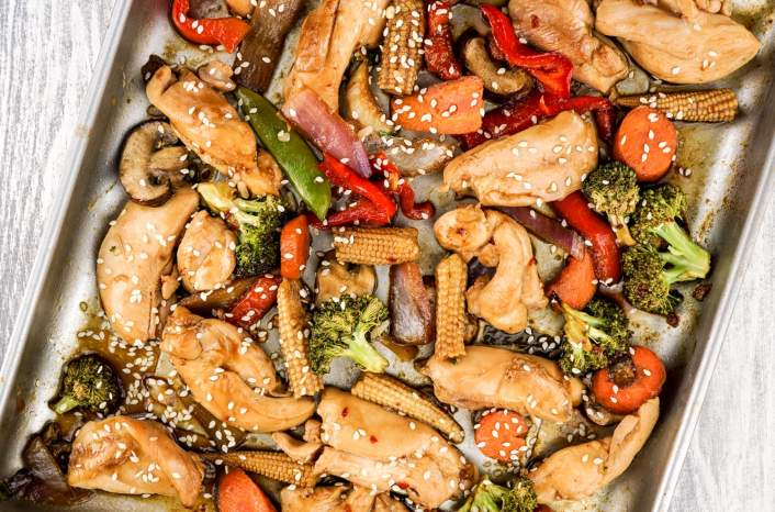 Asian Chicken Stir Fry on a sheet pan.