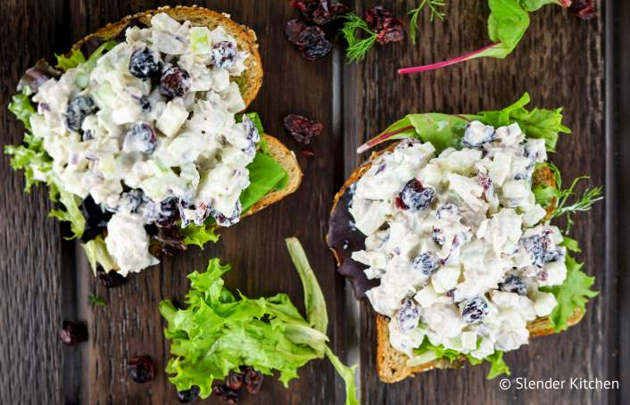 Cranberry Tuna Salad on wheat bread with lettuce.