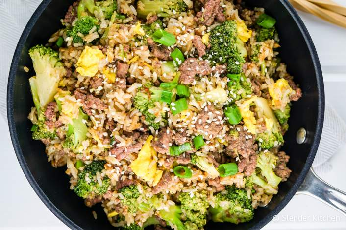 Beef and broccoli fried rice in a skillet.