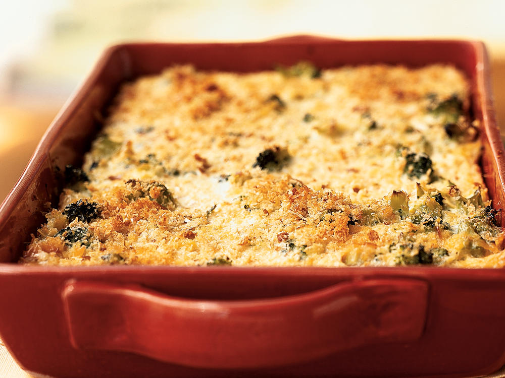 Broccoli and Three-Cheese Casserole