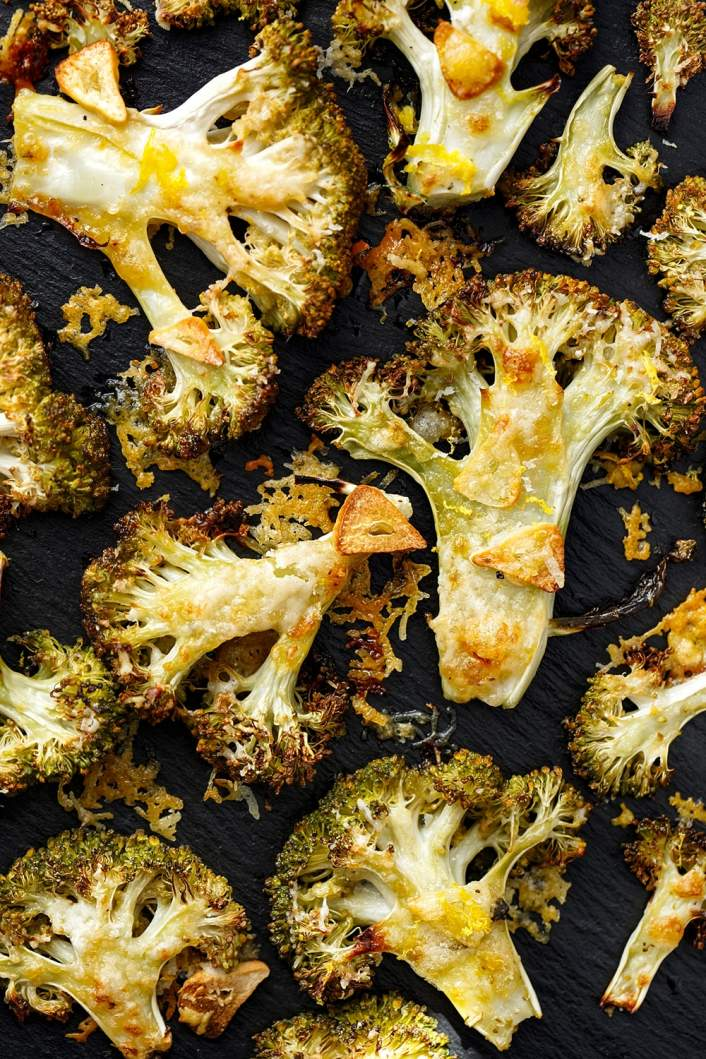 Parmesan Roasted  Broccoli in a sheet pan with garlic and lemon.
