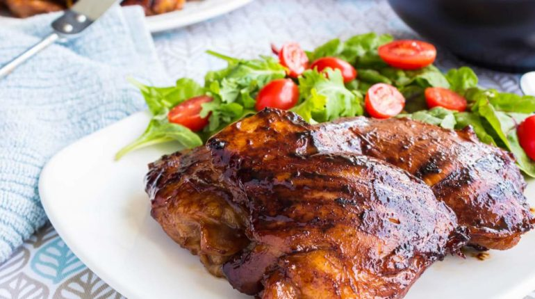 Grilled Sriracha Barbecue Chicken - Slender Kitche...