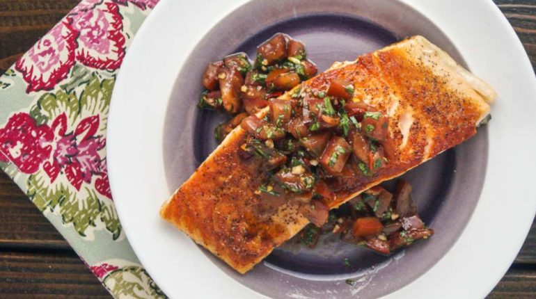 Italian Salmon with Tomato Basil Salsa