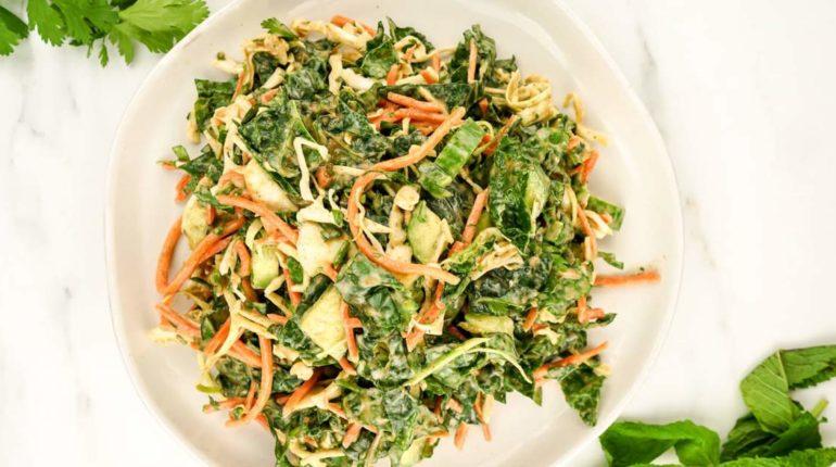 Asian Kale Apple Slaw - Slender Kitchen